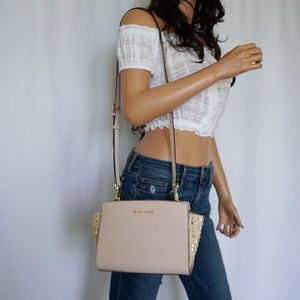 Michael Kors Selma Stud M Messenger Bag Pink Gold